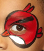 Red Angry Bird Eye Face Painting