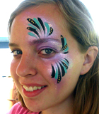 Pink and Teal Face Painting Eye Design